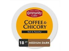 COMMUNITY Coffee Premium Single Serve Pods Coffee & Chicory 18 cups