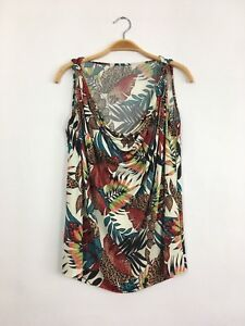 TBAGS LA Sleeveless Floral Printed Knot Strap Stretch Top Jersey Multi S $202 B6