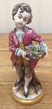 Capodimonte Naple Italy Sad Chiucci Boy Figurine Vintage Flower Basket Prince X