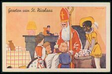 art Beckman Santa Claus & Black helper Christmas original old c1940s postcard