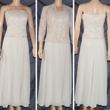 DAVIDS BRIDAL Gown  cream beige sequins Long Halter Jacket Beads Embroidered 10