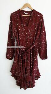 NINE by SAVANNAH MILLER // Size 16 // Brick Red Star Gazer Long Sleeve Dress