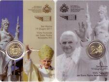 SAN MARINO: 2011 VISITA DI BENEDETTO XVI, 2 EURO FDC