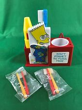 1990 Helm Toy The Simpsons Bart Simpson Tooth Brush Set with Timer