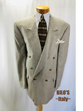 BILO'S Men's Sport Coat Size 48 XL 6-Button DB Peak Silk/Wool Tan/Black Jacket