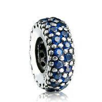 Silver Charm European Thin Blue Zircon Spacer Beads Fit 925 Sterling Bracelets