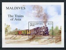 Maldives 1994 MNH Trains of Asia 1v S/S Steam Locomotives Railways Stamps