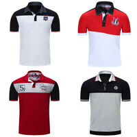 Fashion Men Cotton T Shirt Short Sleeve Patchwork Polo Shirts with Embroidered
