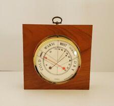 Vintage Thermometer Hygrometer Wood Frame Mount Brass Made In France