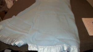 Vintage Acrylic Blanket Twin 64 X 88 inches Satin Trim Binding Blue USA Made