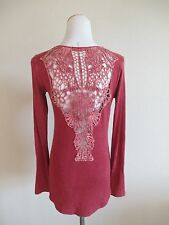 BEAR DANCE Red Crochet Back Distressed Long Sleeve Tee Sz M