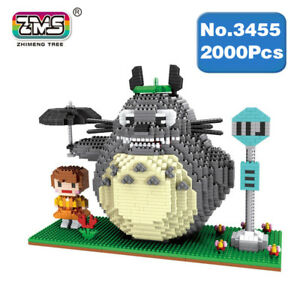 Building Blocks Microblock Anime Neighbor Totoro Mini Building Umbrella