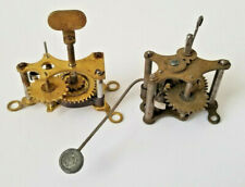 Set of Two Antique Brass Kitchen Clock Wind-Up Alarm Movements