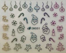 Nail Art 3D Decal Stickers Multicolored Christmas Tree Santa Snowflake SW001