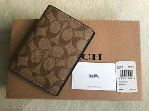 Coach F93518 Passport Case Wallet Signature Canvas Tan/Black Authentic Gift Box