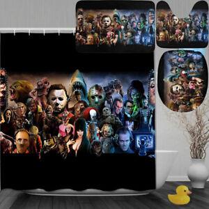 Horror Film Character 4PCS Bathroom Bath Mat Set Shower Curtain Toilet Lid Cover