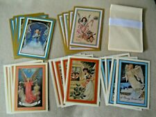 20 Vintage ANGEL Paper Magic Christmas Cards & Envelopes / UNUSED / USA