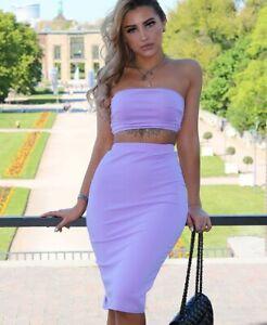 Womens Lilac Plain Midi Length Split Hem High Waisted Skirt