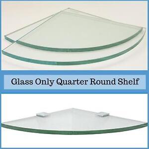 "3/8"" Tempered Quarter Round Corner Glass Shelf Flat Polish Edge & Touch Corners"