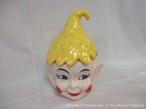 1950's Yellow Elf/Pixie Cookie Jar (cf)