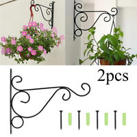 2Pcs Metal Iron Wall Hanging Bracket Art Plant Holder Hanger Hook Garden Decor