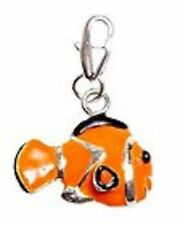 LOVELY SILVER & ORANGE GOLD FISH - CLIP ON CHARM FOR BRACELETS - S/PLATE-NEW