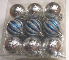 18 SILVER & TURQUOISE SHATTER RESISTANT 2 1/4 IN CHRISTMAS ORNAMENT DECORATION