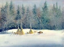 EARLY WINTER TIPI CAMP & HORSES by Sharon Sharpe L@@K