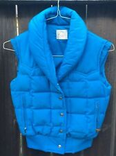 Vintage Robbe Blue Ski Vest Youth S/M Down Filled Snap Front Made in USA Winter