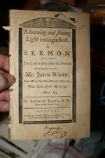 A Sermon of 1750 for the Passing of Pastor John Webb New North Boston Ma Church