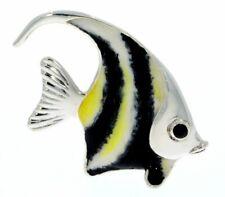 More details for saturno sterling silver & enamel medium angel fish marinelife sculpture figurine