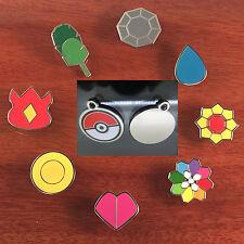 Pokemon Cartoon Anime Kanto All 8 Gym Badges & Pokeball Keyring