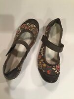 Reiker 7.5 Antistress Mary Jane Shoes Canvas And Leather Perforated Floral