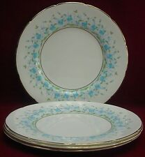 """COALPORT china HAREBELL Turquoise 9236 patten LUNCHEON PLATE 9"""" set of FOUR (4)"""
