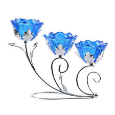 LONGWIN Crystal Flower 3 Arms Wrought Iron Candle Holder Glass Candlestick Blue