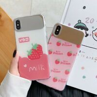 Strawberry Makeup mirror Soft UNBreak Phone Case Cover For Apple iPhone 6-XS Max