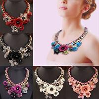 Statement Flower Necklace Gemstone Choker Chunky Collar Pendant Fashion Jewelry.