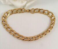 Vintage Jewellery Gold Link Chain Bracelet Jewelry fits large wrist size 20 cm