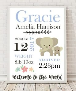 Personalised Baby Gift / Nursery Print / Birth details Christening A4 BLUE PO7