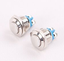 2x16mm Anti-Vandal Momentary Stainless Steel Metal Top Push Button Switch Raised