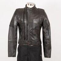 Men's Vintage Leather Motorcycle Jacket Size 42 M Medium Black