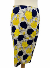 Dickins & Jones Floral Pattern Straight Pencil Skirt UK 10 Blue/Yellow Great Con