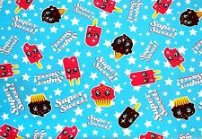 """SWEET POPSICLES ICE CREAM CONES & CUPCAKES FLANNEL MATERIAL 2 YDS EACH 42 x 72"""""""