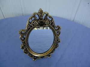 oval antique  brass gold finish  metal ghd small mirror vanity