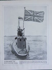 1915 WW1 PRINT ~ SUBMARINE E8 WITH COLOURS FLYING NAVAL WARFARE