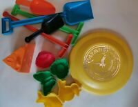 Lot of 11 plastic beach toys and a plastic Olympic Sports-disc frisbee