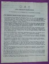RARE O.A.S. CENTRE NATIONALISTE DE DOCUMENTATION / DE GAULLE GUERRE ALGERIE