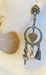 VTG Banana Bob Earrings Dangle Art Nouveau Whimsical Heart Ballerina Rhinestone