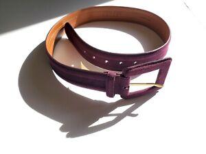 NWT Authentic Lauren Ralph Lauren Leather Berry Burgundy Bordeaux Suede Belt S