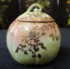 Antique UNMARKED NIPPON Porcelain Gourd Shape BISCUIT JAR Gold Moriage Filigree
